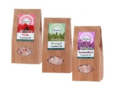 Kúpeľová himalájska soľ - ruža, konope, levanduľa